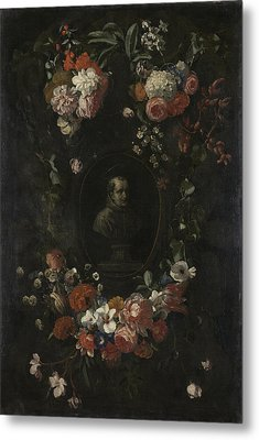 Garland Of Flowers Surrounding Portrait Of Hieronymus Van Metal Print by Litz Collection