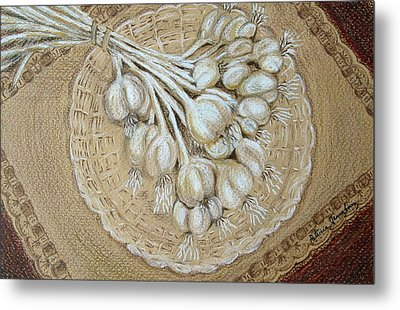 Metal Print featuring the drawing Garlic by Patricia Januszkiewicz