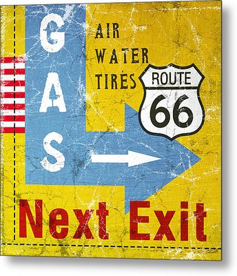 Gas Next Exit- Route 66 Metal Print by Linda Woods