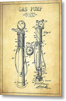 Gas Pump Patent Drawing From 1930 - Vintage Metal Print by Aged Pixel