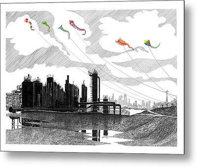 Flying Kites In Seattle Metal Print