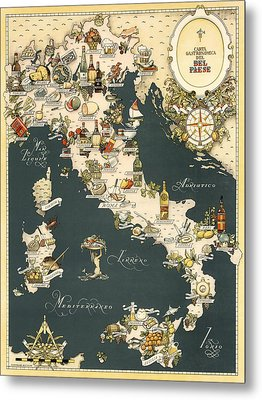 Gastronomic Map Of Italy 1949 Metal Print by Andrew Fare