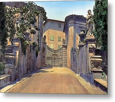 Gate And Lions Metal Print by Terry Reynoldson