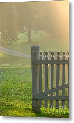 Gate In Morning Fog Metal Print by Olivier Le Queinec