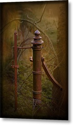 Gate Post Metal Print by Liz  Alderdice