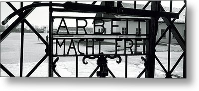 Gate With Inscription Arbeit Macht Metal Print by Panoramic Images