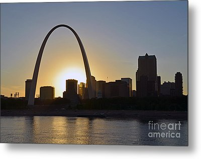 Gateway Arch Sunset Metal Print