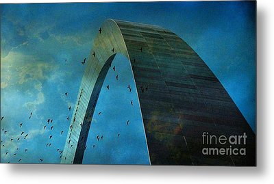 Gateway Arch With Birds Metal Print by Janette Boyd