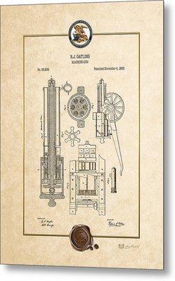 Gatling Machine Gun - Vintage Patent Document Metal Print by Serge Averbukh