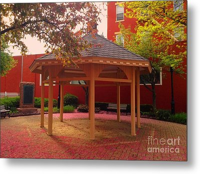 Metal Print featuring the photograph Gazebo In Pink by Becky Lupe