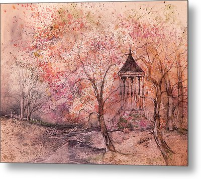 Gazebo In Red Metal Print by Anna Sandhu Ray
