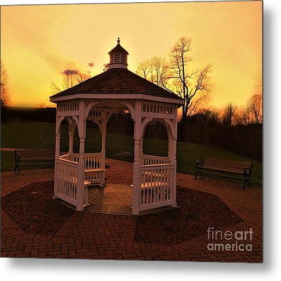 Metal Print featuring the photograph Gazebo In Sunset by Becky Lupe