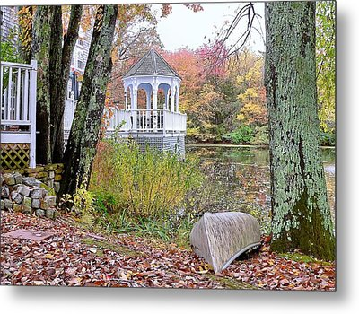 Metal Print featuring the photograph Gazebo On Pond -  Fall Scene by Janice Drew