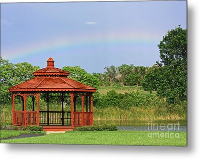 Gazebo Rainbow Metal Print by Terri Mills