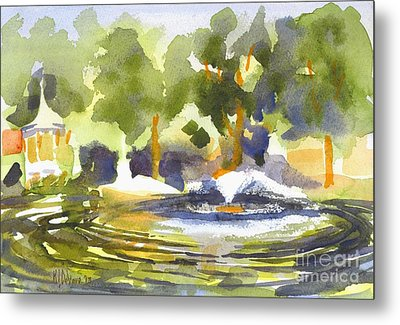 Gazebo With Pond And Fountain Metal Print by Kip DeVore
