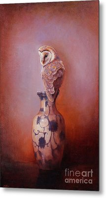 Gazing - Barn Owl Metal Print by Lori  McNee