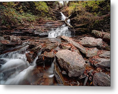 Gazing Up From Below Huron Falls Metal Print