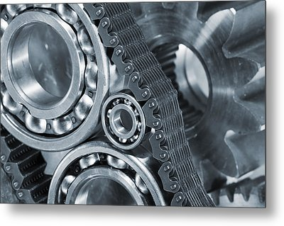 Gears And Cogs Titanium And Steel Power Metal Print by Christian Lagereek