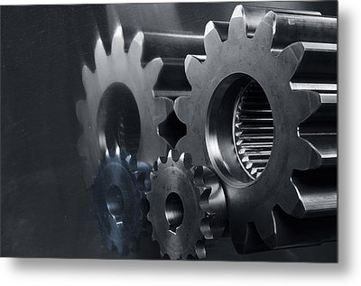 Gears And Power Metal Print by Christian Lagereek