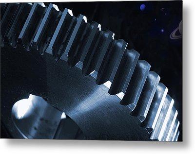 Gears Engineering In Space Metal Print by Christian Lagereek