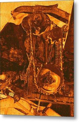 Gears In Yellow Metal Print by Ann Powell