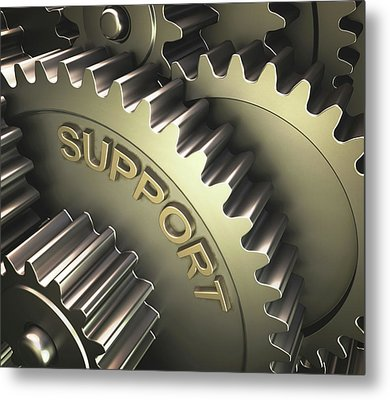 Gears With The Word 'support' Metal Print