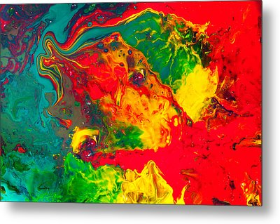 Gecko - Colorful Abstract Painting Metal Print