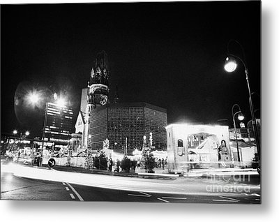 Gedachtniskirche Christmas Market On Kudamm Berlin Germany Metal Print by Joe Fox