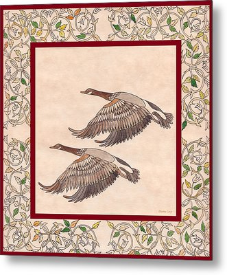 Metal Print featuring the drawing Geese by Dianne Levy