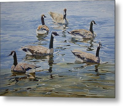 Metal Print featuring the painting Geese by Helal Uddin