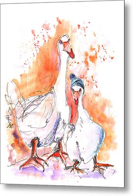 Geese In Spanish Winter Metal Print by Miki De Goodaboom