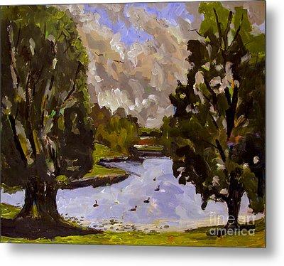 Geese On Raders Pond Metal Print by Charlie Spear