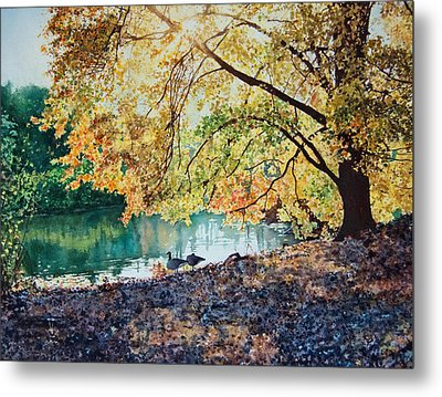 Geese Under A Tree Metal Print by Ben Sapia