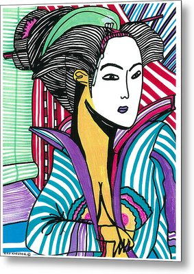 Metal Print featuring the drawing Geisha Green And Blue by Don Koester