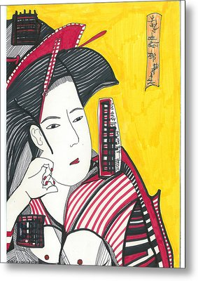 Metal Print featuring the drawing Geisha In Red And Black by Don Koester