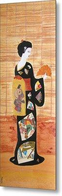 Metal Print featuring the painting Geisha by Mini Arora