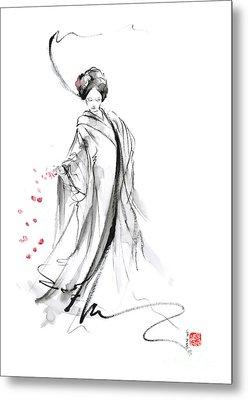 Geisha With Cherry Blossom Flower Metal Print