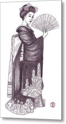 Geisha With Fan Metal Print by Snezana Kragulj
