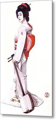 Geisha With Shamisen Metal Print by Snezana Kragulj