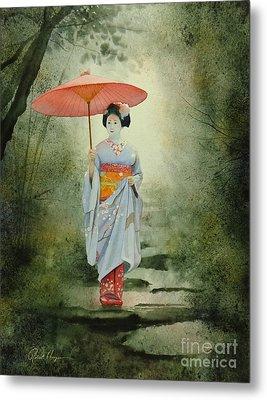 Geisha With Umbrella Metal Print