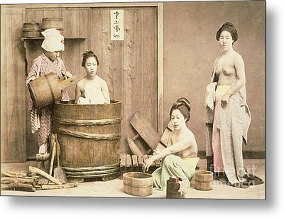 Geishas Bathing Metal Print by English School
