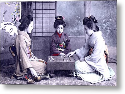 Geisha's Playing Game Metal Print by Unknown