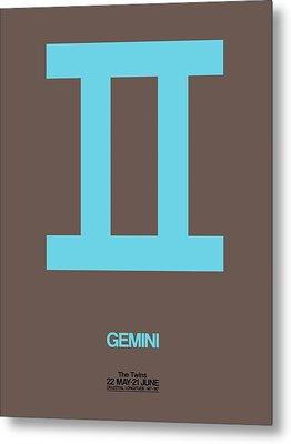 Gemini Zodiac Sign Blue Metal Print by Naxart Studio