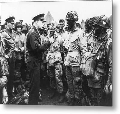 General Eisenhower Encouraging Troops Prior To D-day Invasion Metal Print by Mountain Dreams