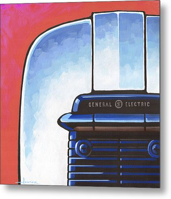 General Electric Toaster - Red Metal Print by Larry Hunter