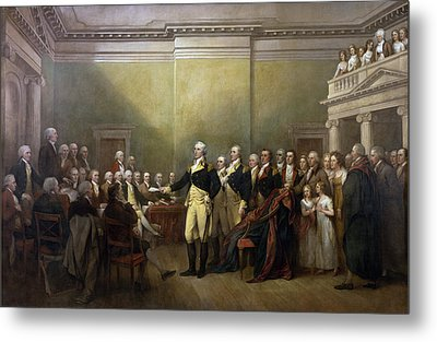General George Washington Resigning His Commission Metal Print by John Trumbull