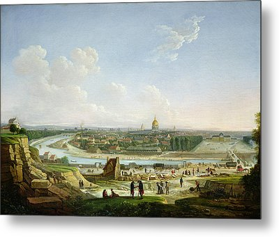 General View Of Paris From The Chaillot Hill, 1818 Oil On Canvas Metal Print