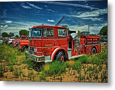 Metal Print featuring the photograph Generations Of Fire Fighting Equipment by Ken Smith