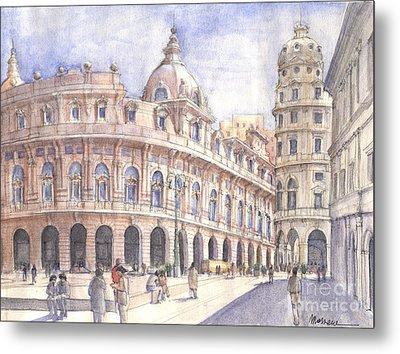 Genova Piazza De Ferrari Metal Print by Luca Massone