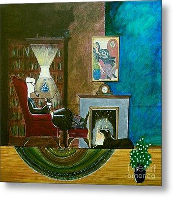 Gentleman Sitting In Wingback Chair Enjoying A Brandy Metal Print by John Lyes